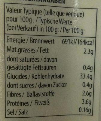 Riz Brun à Grains Entiers et Quinoa - Informations nutritionnelles - fr