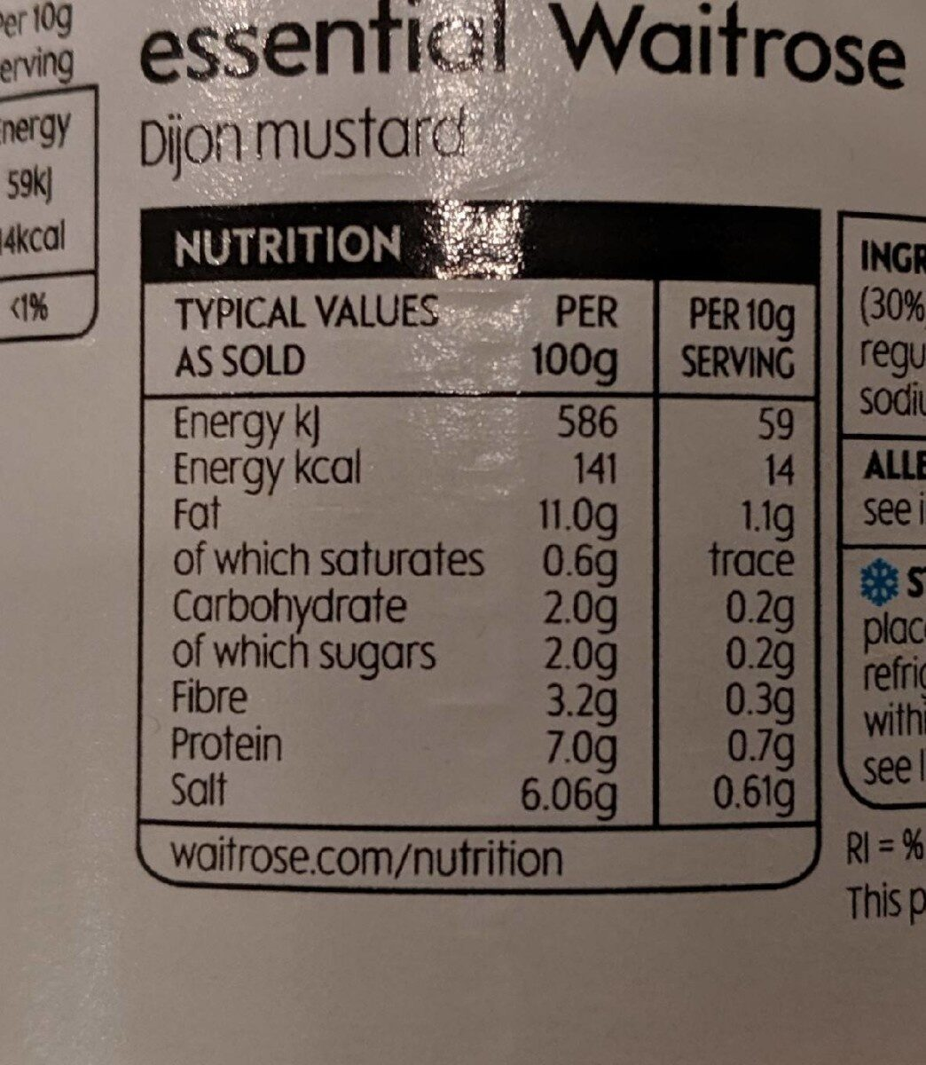 Dijon Mustard - Información nutricional - en