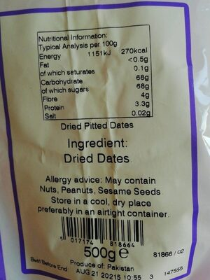 Delicious dates - Nutrition facts