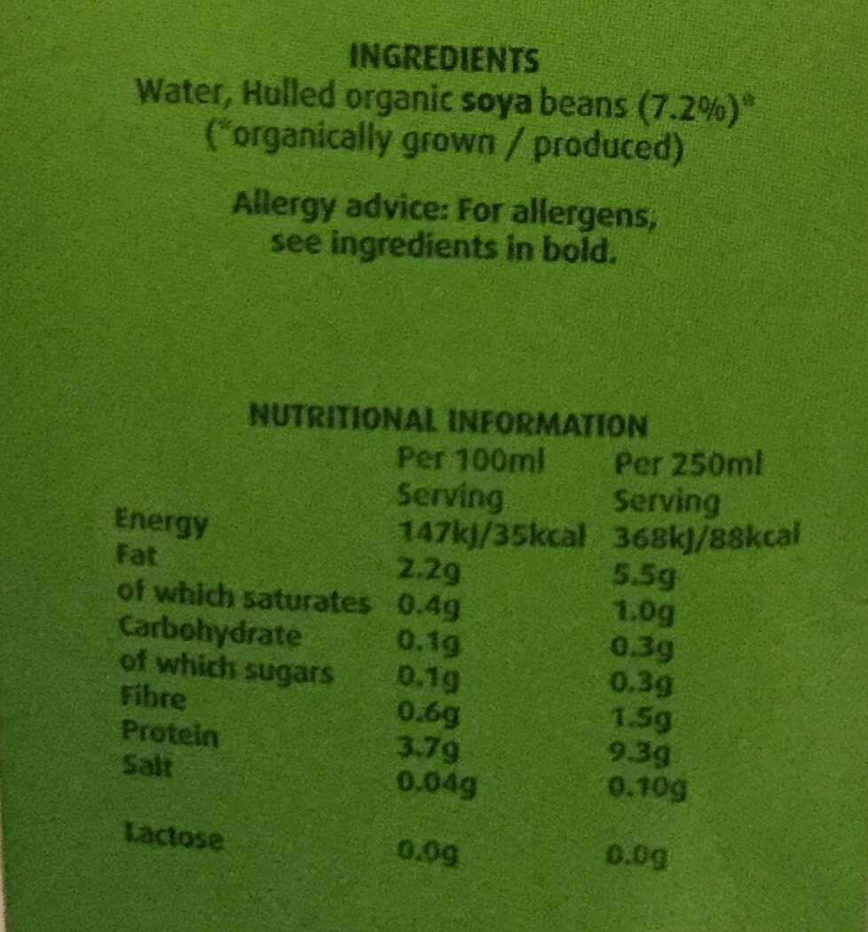 Soya drink - Nutrition facts - nl