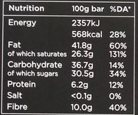 Chocolat noir 70 % avec du gingembre et de l'Orange - Informations nutritionnelles