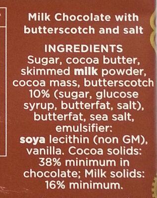 38% Milk Chocolate with Toffee & Sea Salt - Ingrédients - en