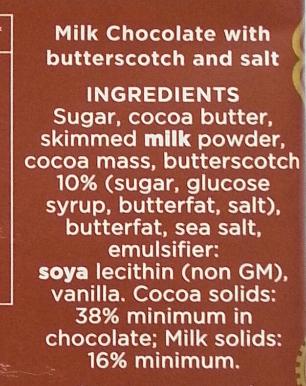 38% Milk Chocolate with Toffee & Sea Salt - Ingredients - en