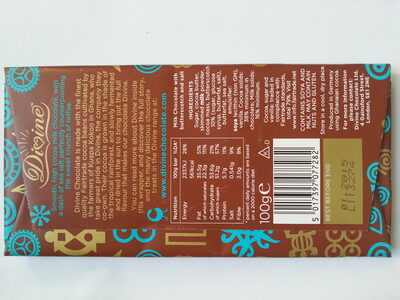 38% Milk Chocolate with Toffee & Sea Salt - Nutrition facts