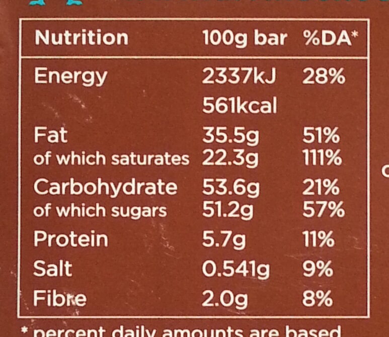 38% Milk Chocolate with Toffee & Sea Salt - Nutrition facts - en