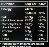 70% Dark Chocolate - Divine - 100 g - Nutrition facts - en