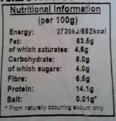 Organic Hazelnuts - Informations nutritionnelles - en