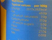 Organic smooth peanut butter - 营养成分 - en