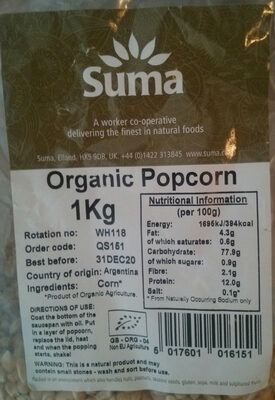 Organic Popcorn - Produit - en