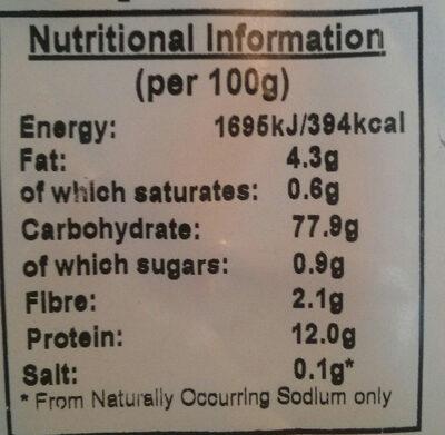 Organic Popcorn - Informations nutritionnelles - en
