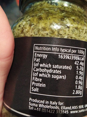 Organic pesto - Informations nutritionnelles - en
