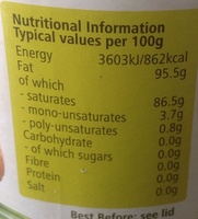 Organic Coconut Oil - Nutrition facts