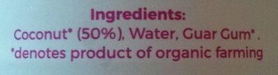 Organic coconut milk - Ingredients