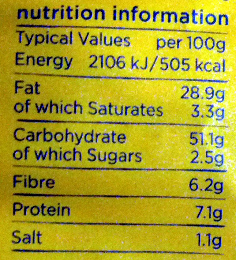 Kettle Chips mature cheddar & red onion - Nutrition facts - en