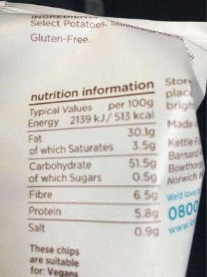 Kettle Chips L / Salt 40g - Información nutricional - en