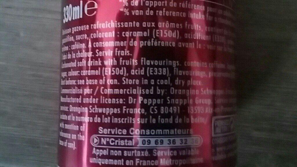 Dr Pepper - Ingrediënten