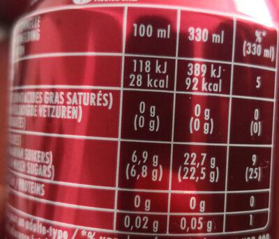 Dr Pepper - Nutrition facts - fr