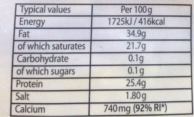 Cheddar - Voedingswaarden - fr