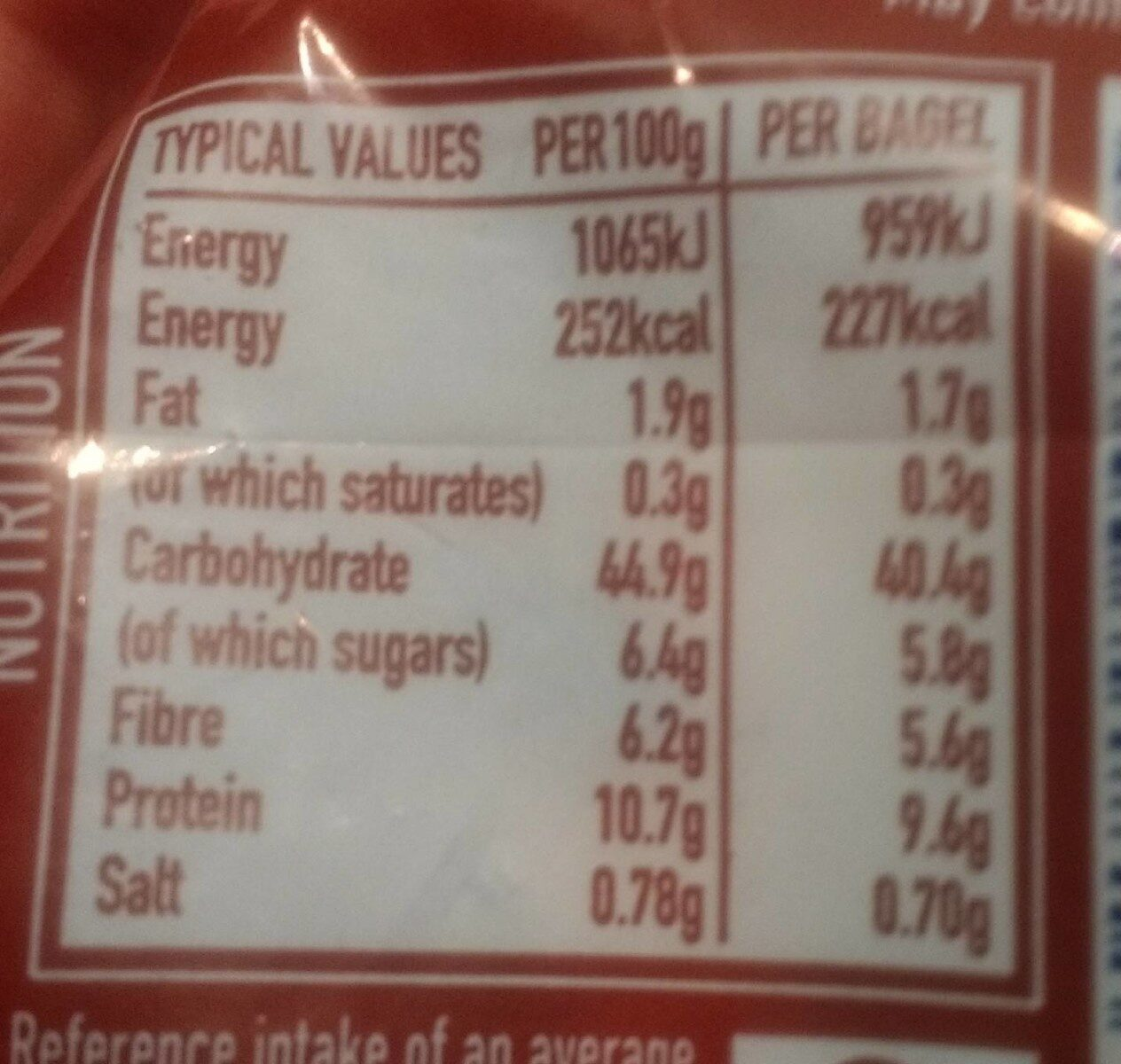 Bakery Co. 5 Wholemeal Bagels - Nutrition facts