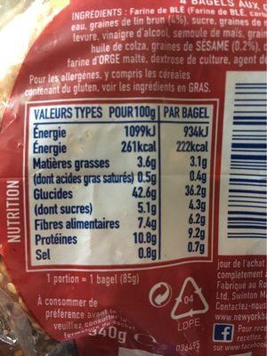 Bagel Multigrains - Informations nutritionnelles - fr