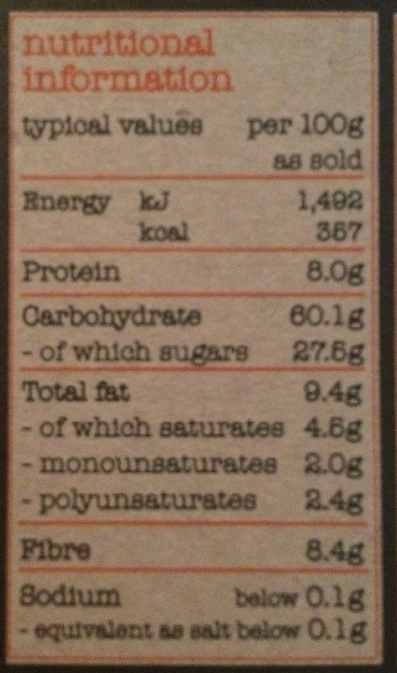 Dorset cereals fabulous high fibre - Nutrition facts