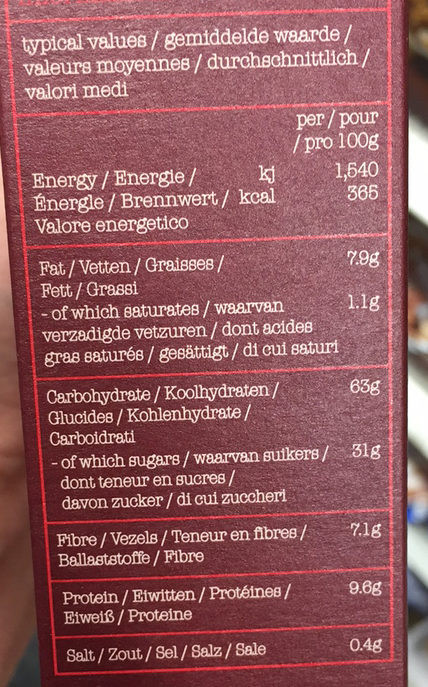 Super Cranberry, Cherry & Almond Muesli - Nutrition facts