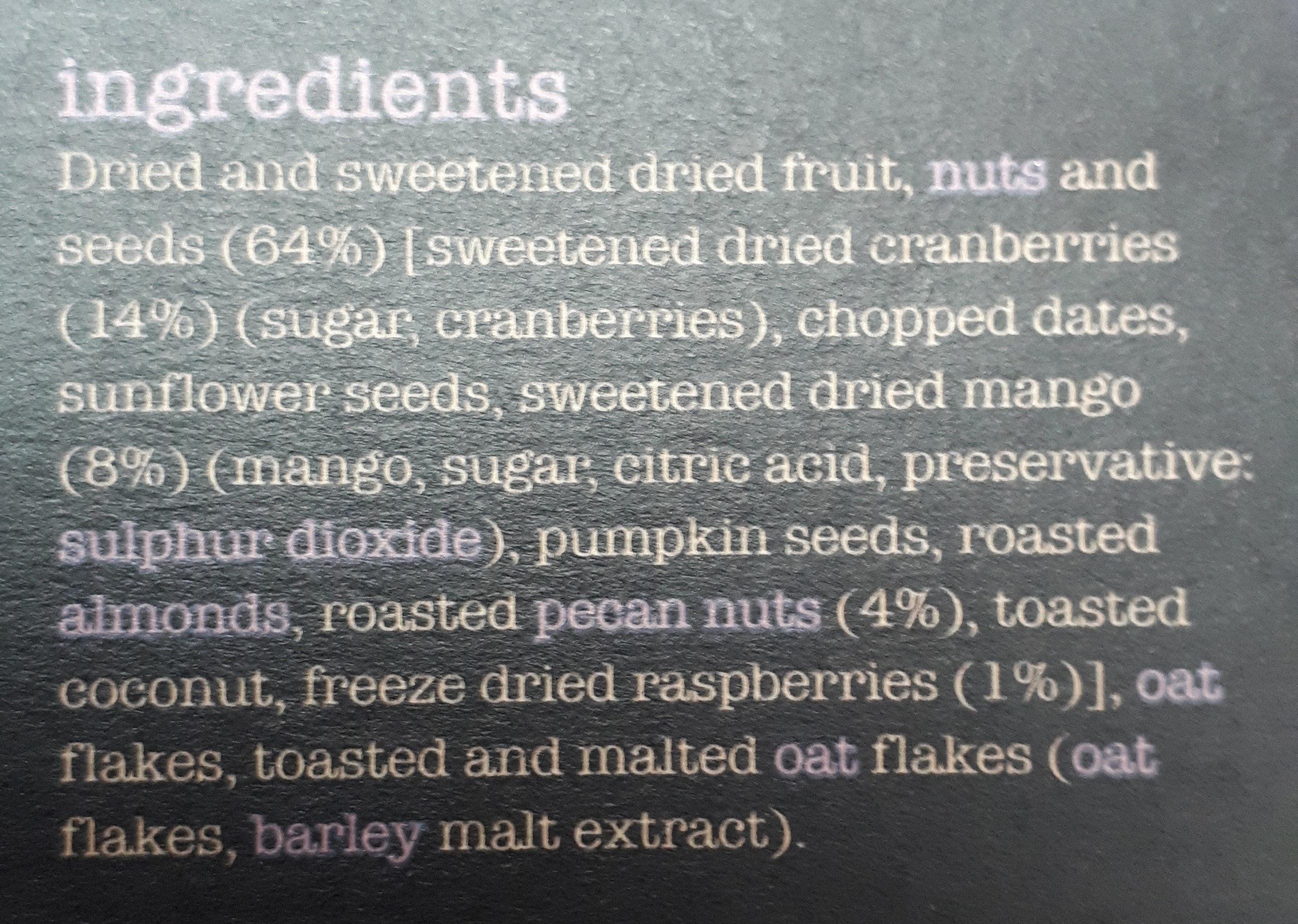 Fruity muesli - Ingredients