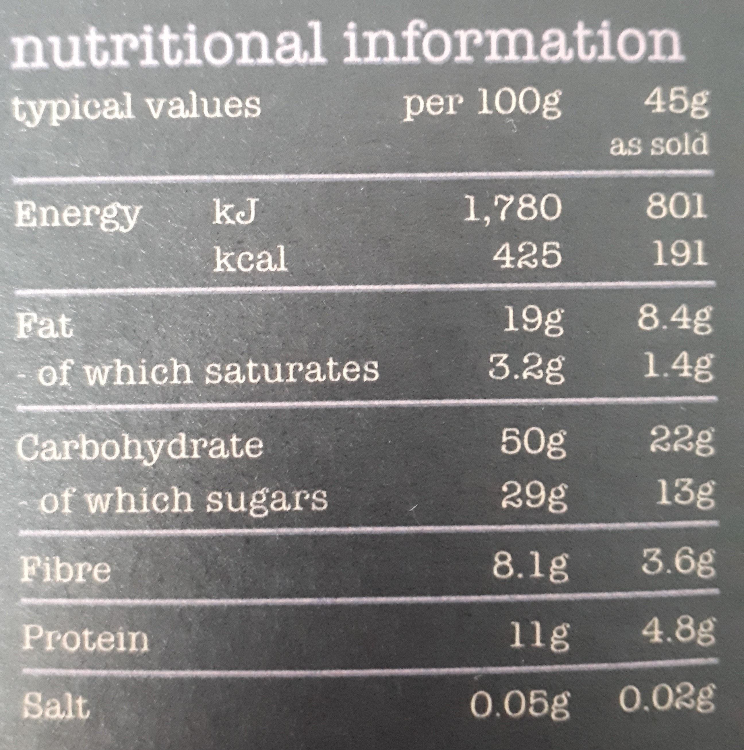 Fruity muesli - Nutrition facts
