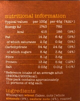 Gloriously nutty muesli - Nutrition facts - fr