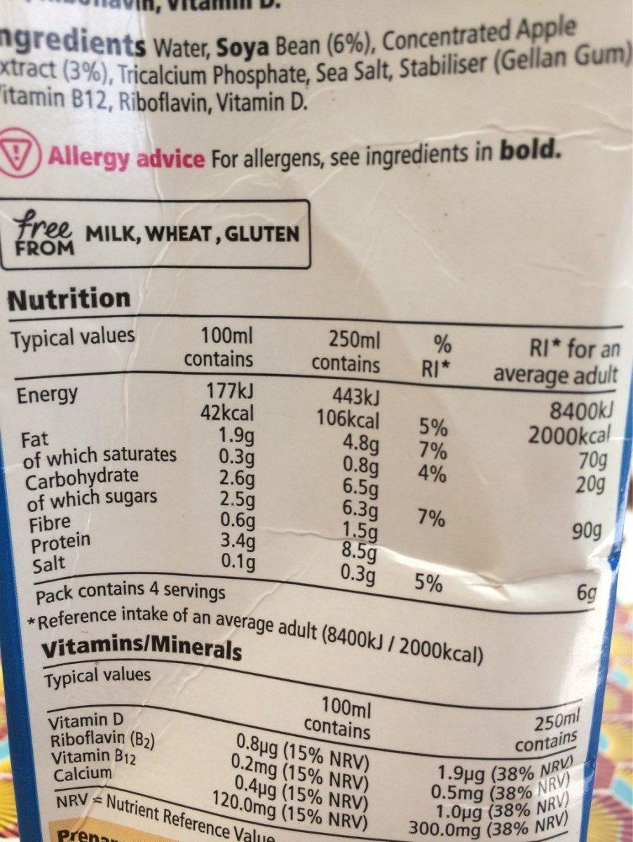 Soya sweetened - Informations nutritionnelles