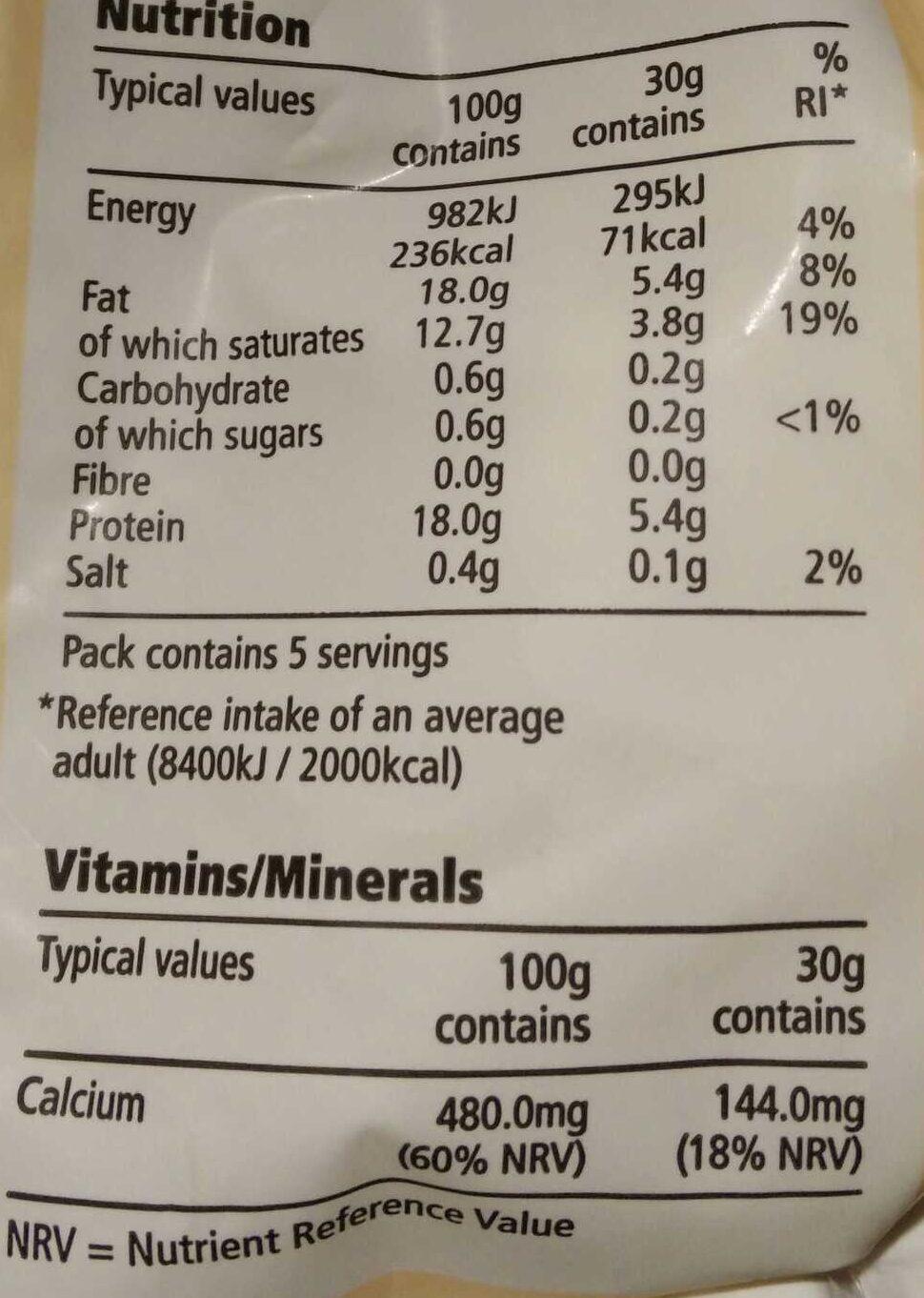 Mozzarella - Valori nutrizionali - en