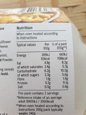 Cauliflower Cheese - Informations nutritionnelles - en