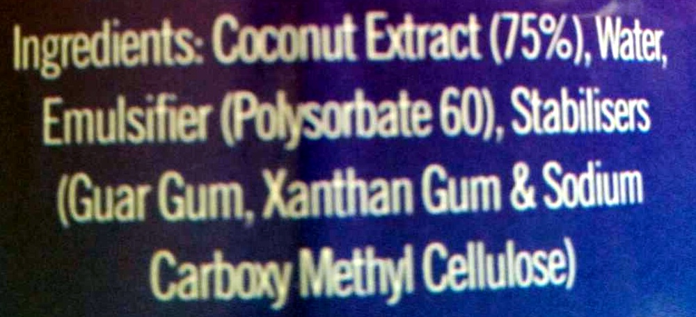 Pride Coconut Milk - Ingredients