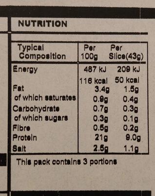 Northamptonshire Cured Ham - Informations nutritionnelles - en