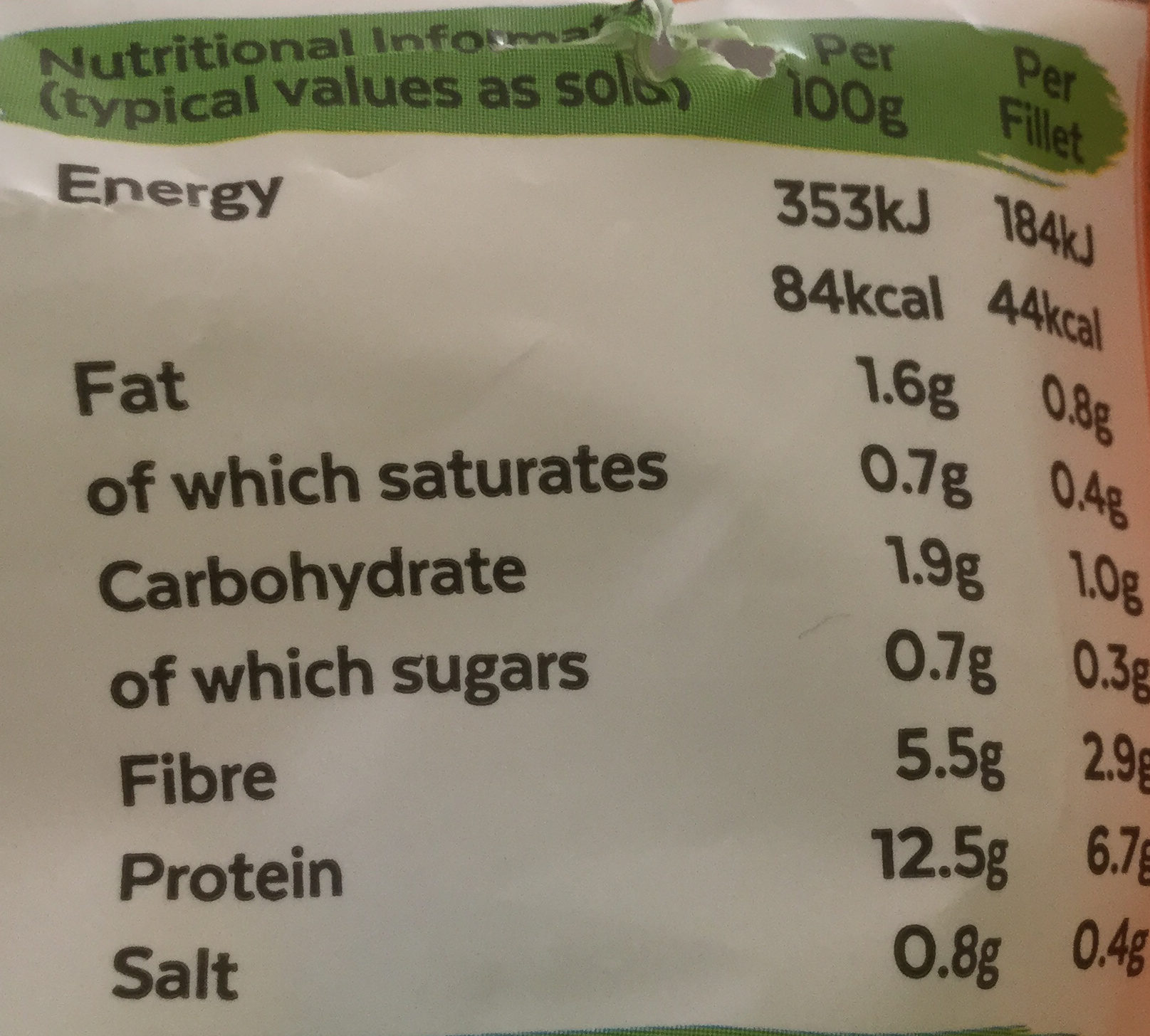 Fillets - Nutrition facts