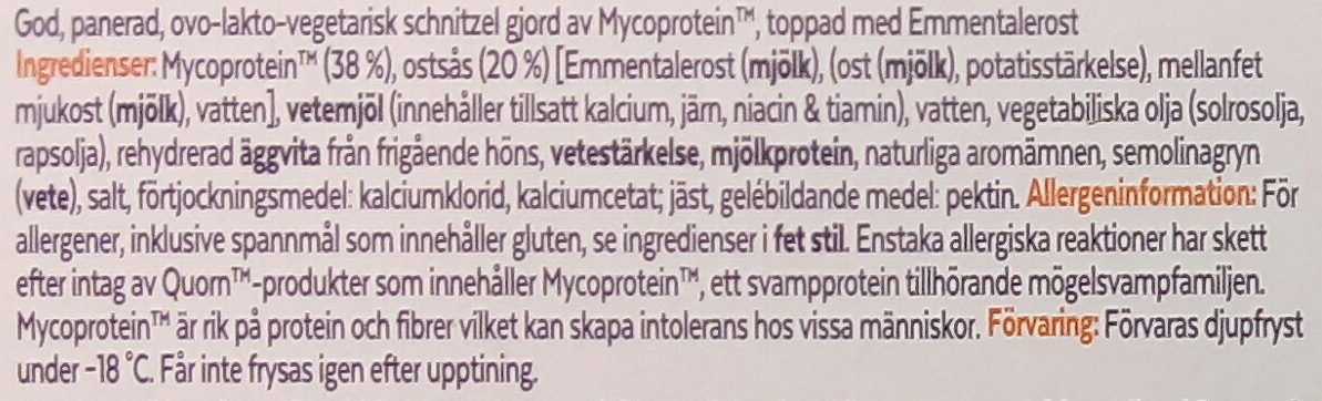 Quorn Schnitzel med Emmentalerost - Ingredients