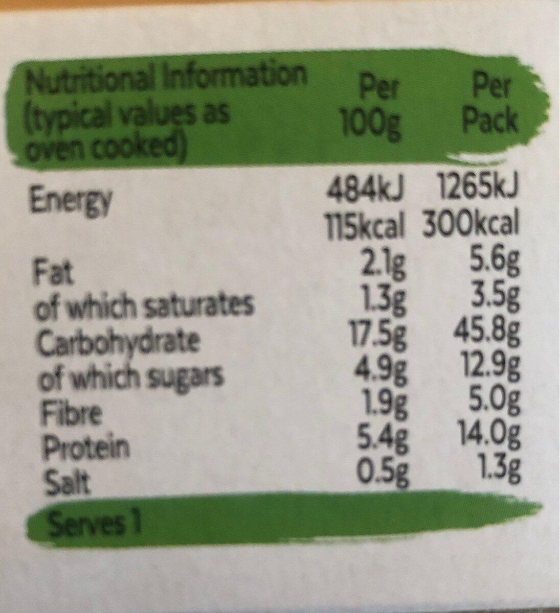 Quorn Lasagne - Informations nutritionnelles - en