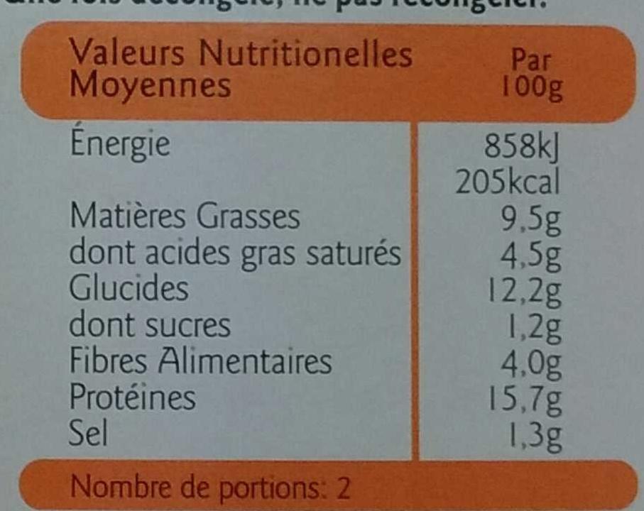 Panés au Fromage végétarien - Informations nutritionnelles - fr