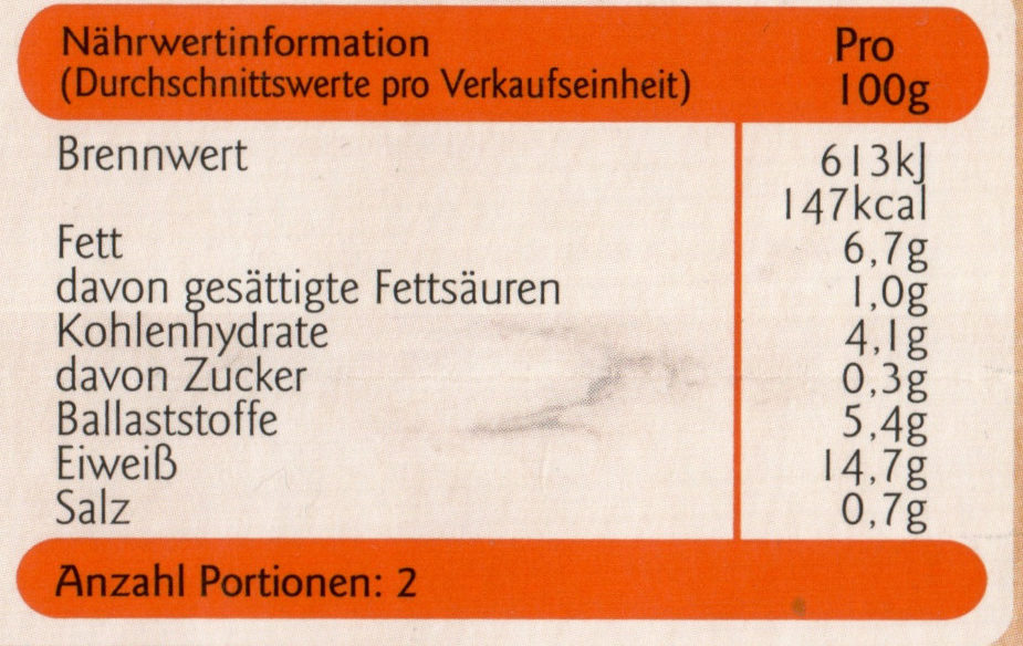 Vegetarische Filetstreifen - Nährwertangaben - de