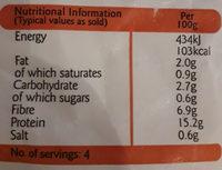 Vegan Fillets - Informations nutritionnelles - en