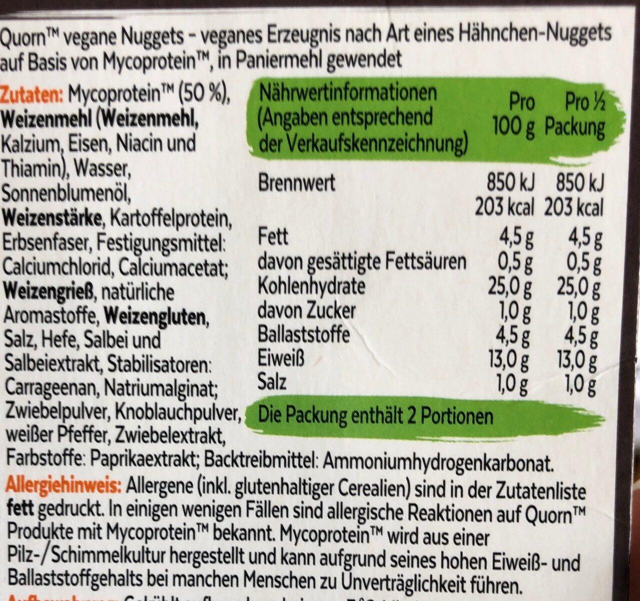Vegane Nuggets - Inhaltsstoffe - de