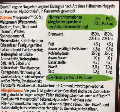 Vegane Nuggets - Ingrédients - fr