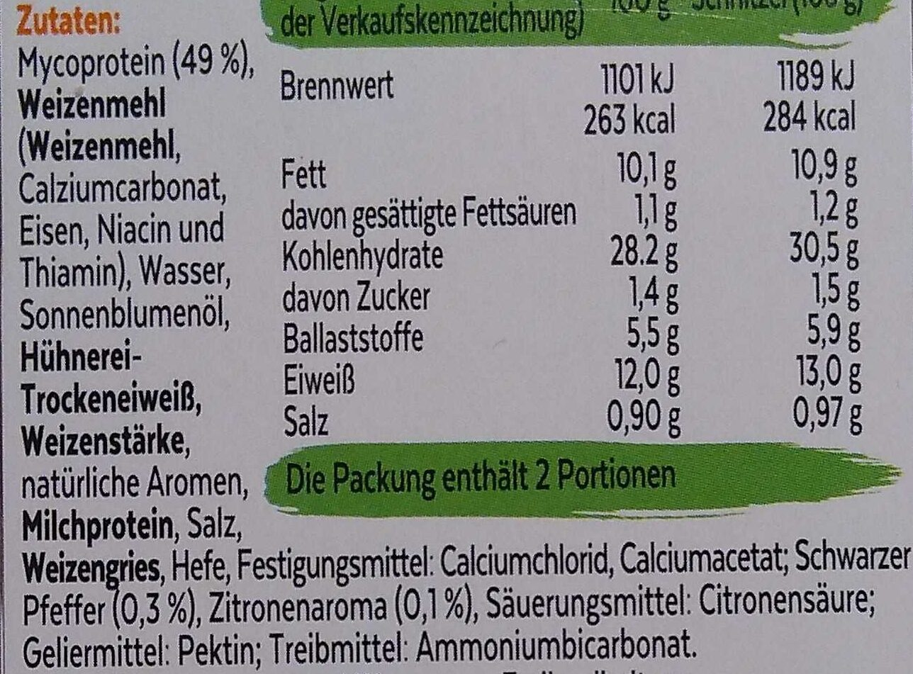 Vegetarische Zitronen-Pfeffer Schnitzel - Ingrédients - de