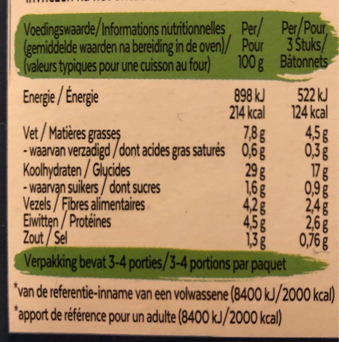 Fish-free sticks - Voedingswaarden - fr