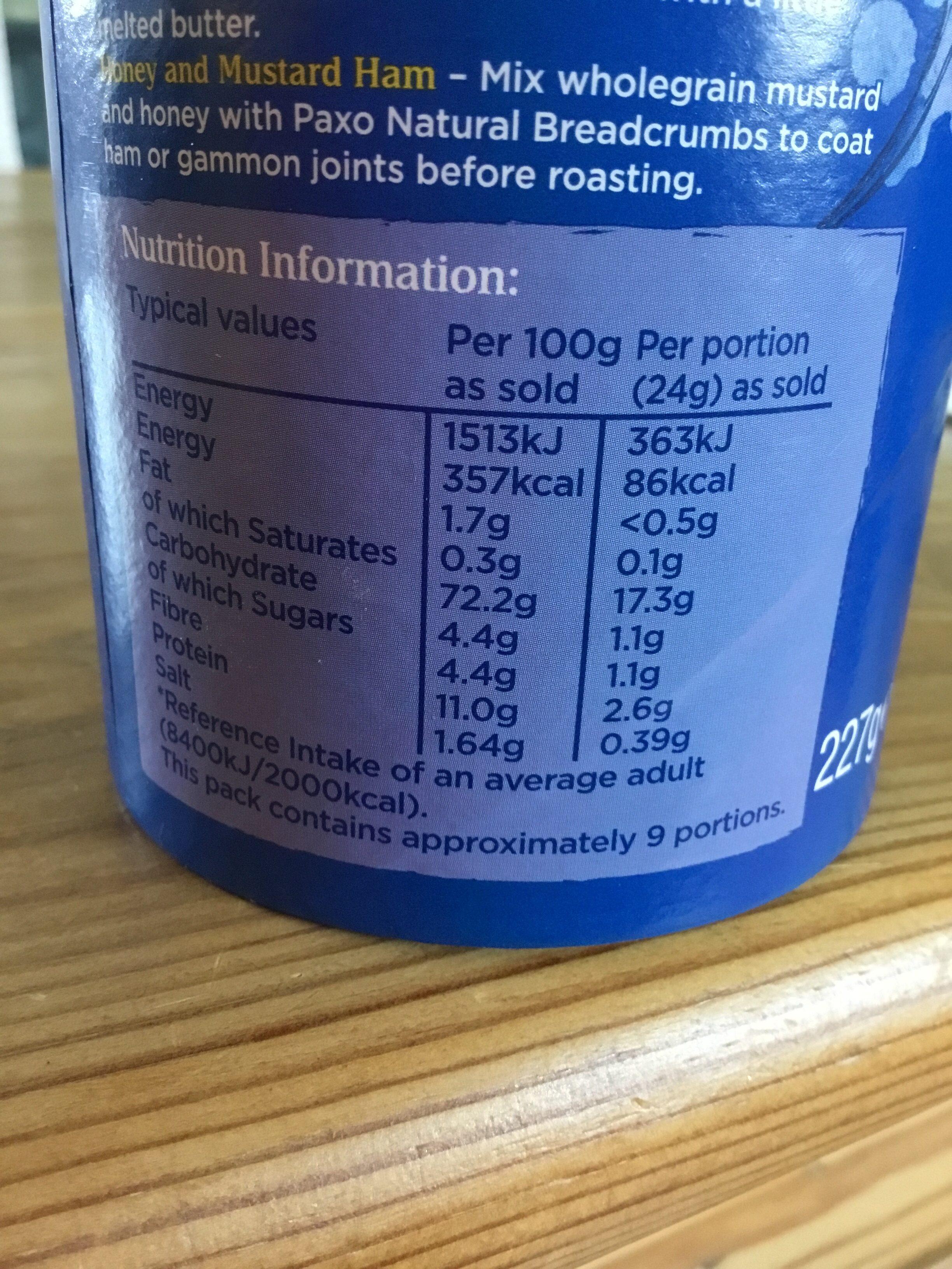 Paxo natural breadcrumbs - Informations nutritionnelles - en