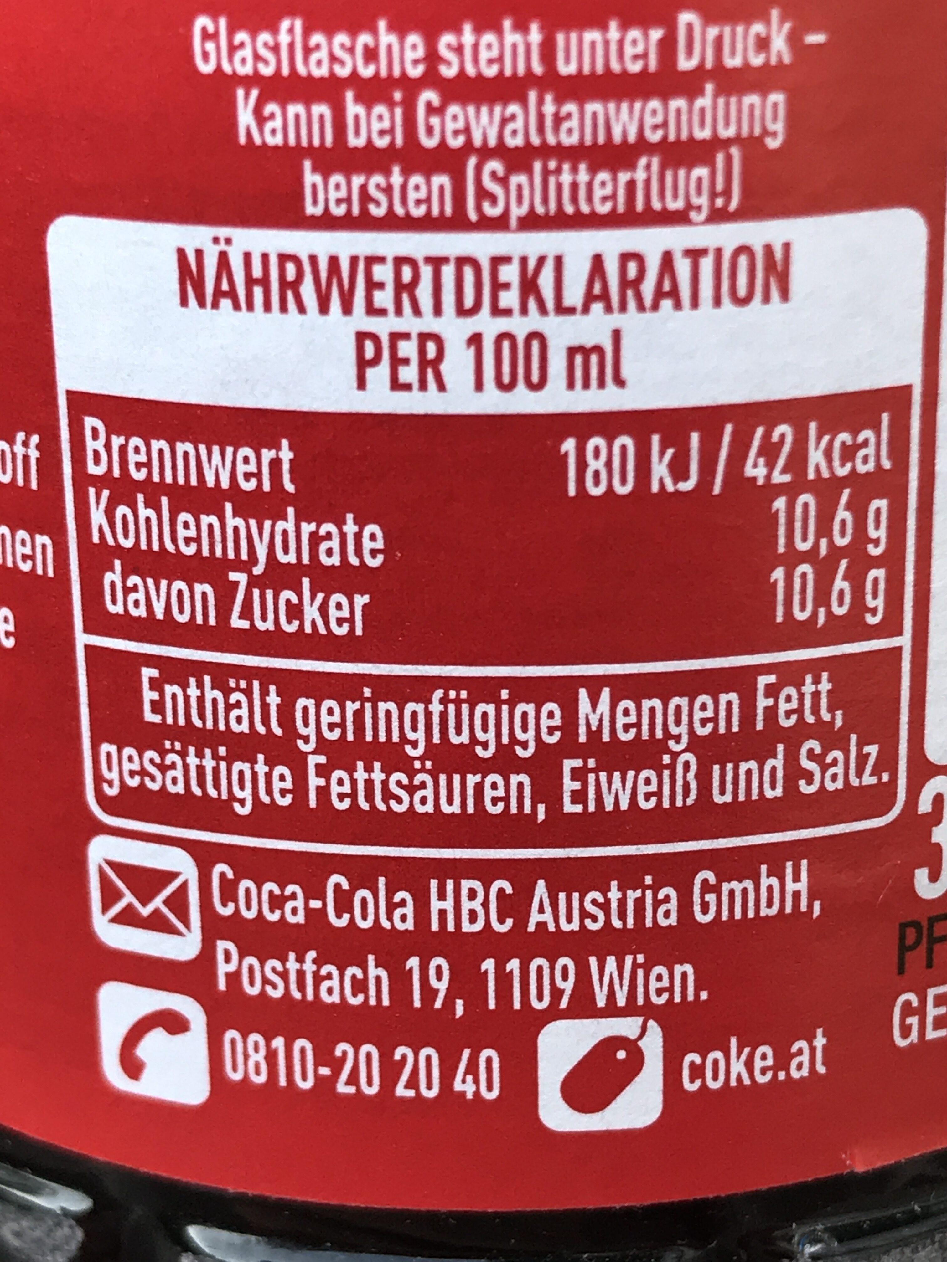 Coca (original) - Informations nutritionnelles - en