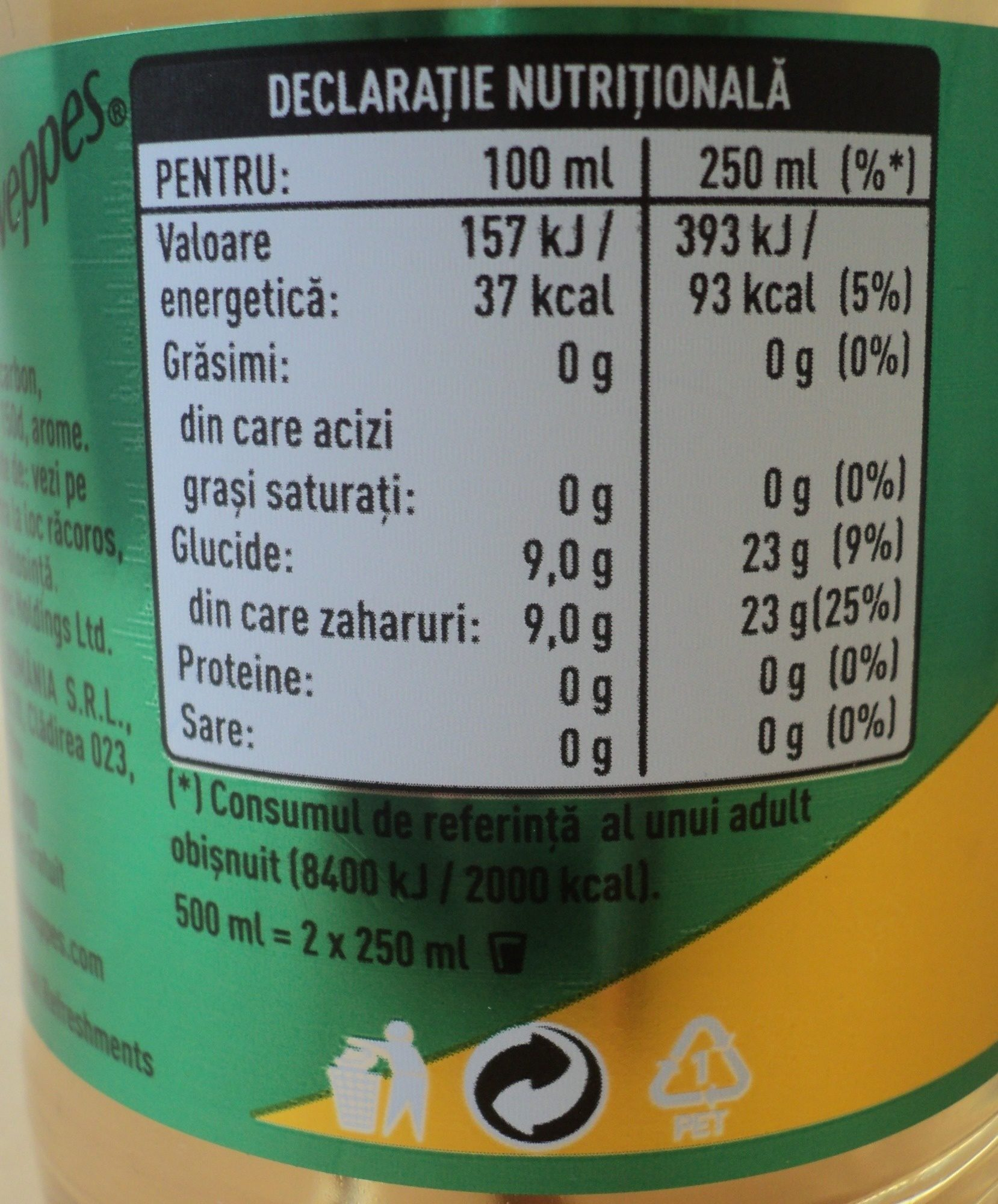 Ginger Ale - Nutrition facts