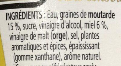 Yellow Mustard Sweet - Ingrédients - fr