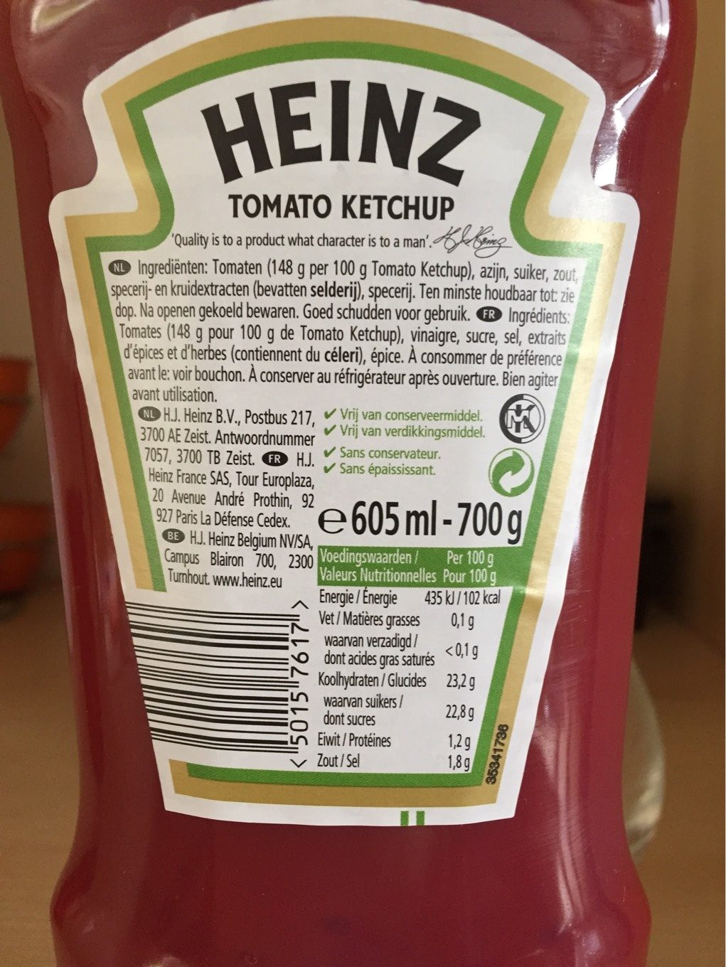 Tomato ketchup - Nutrition facts