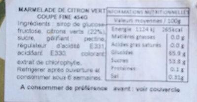 Fine cut marmelade lemon & lime - Nutrition facts - fr